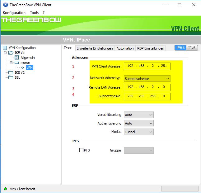 Frei IP Adresse, Netzwerk Adresstyp- Netzwerkadresse, Remote LAN Adresse 192.168.2.0, Subnetzmaske